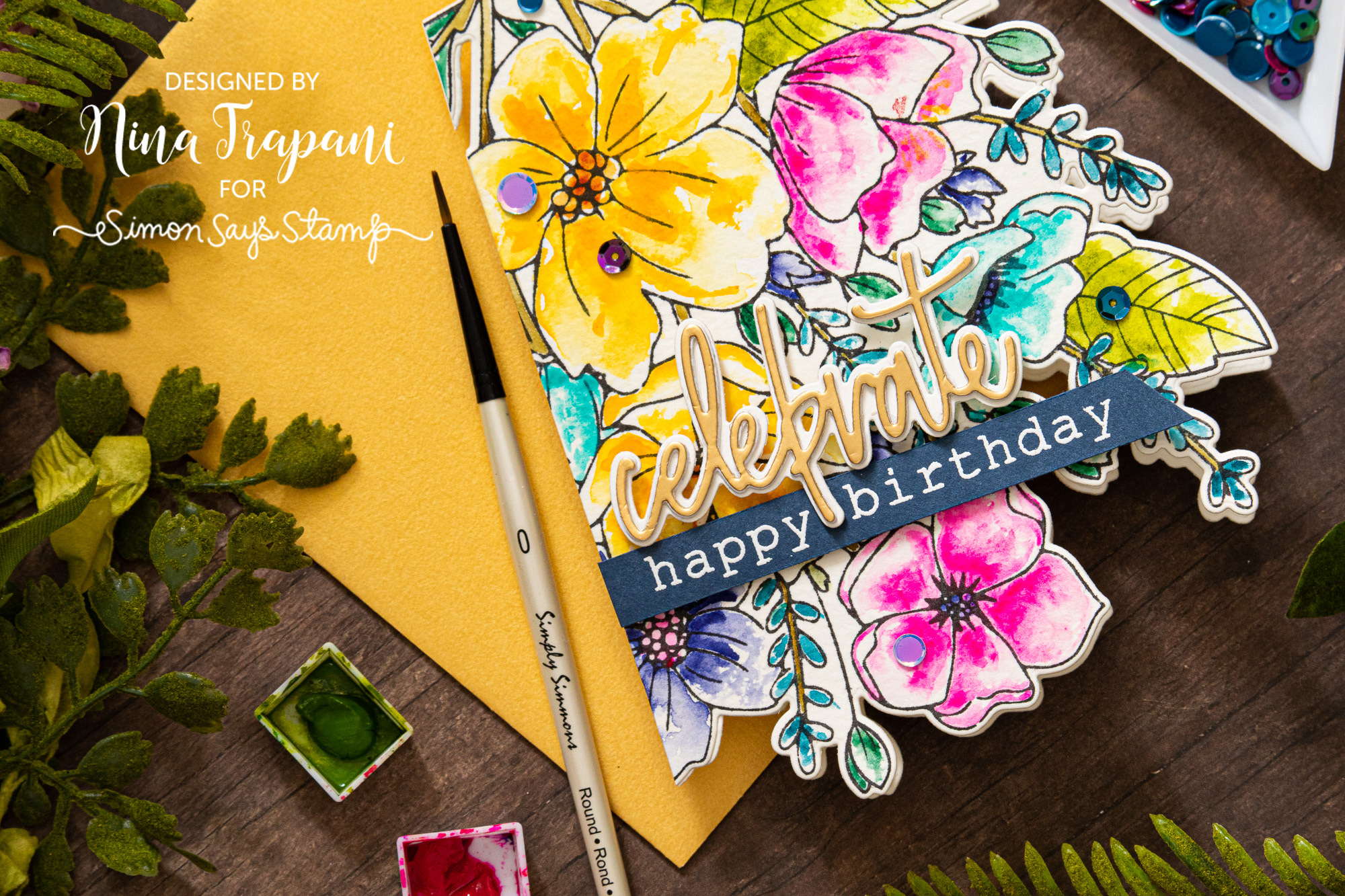 Shaped Die Cut Card + Simon's Memory Box STAMPtember® Exclusive