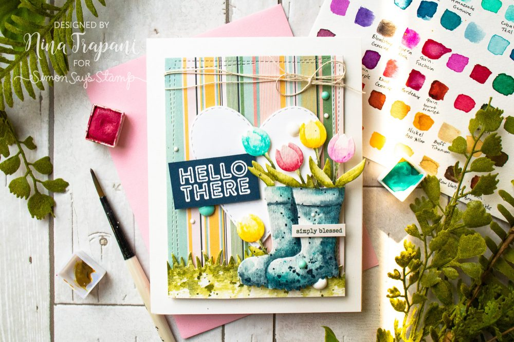 Watercoloring Die Cuts + Simon's April 2019 Card Kit-2