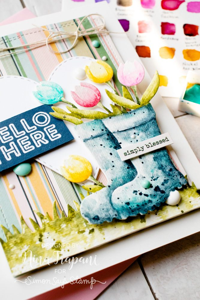 Watercoloring Die Cuts + Simon's April 2019 Card Kit-4